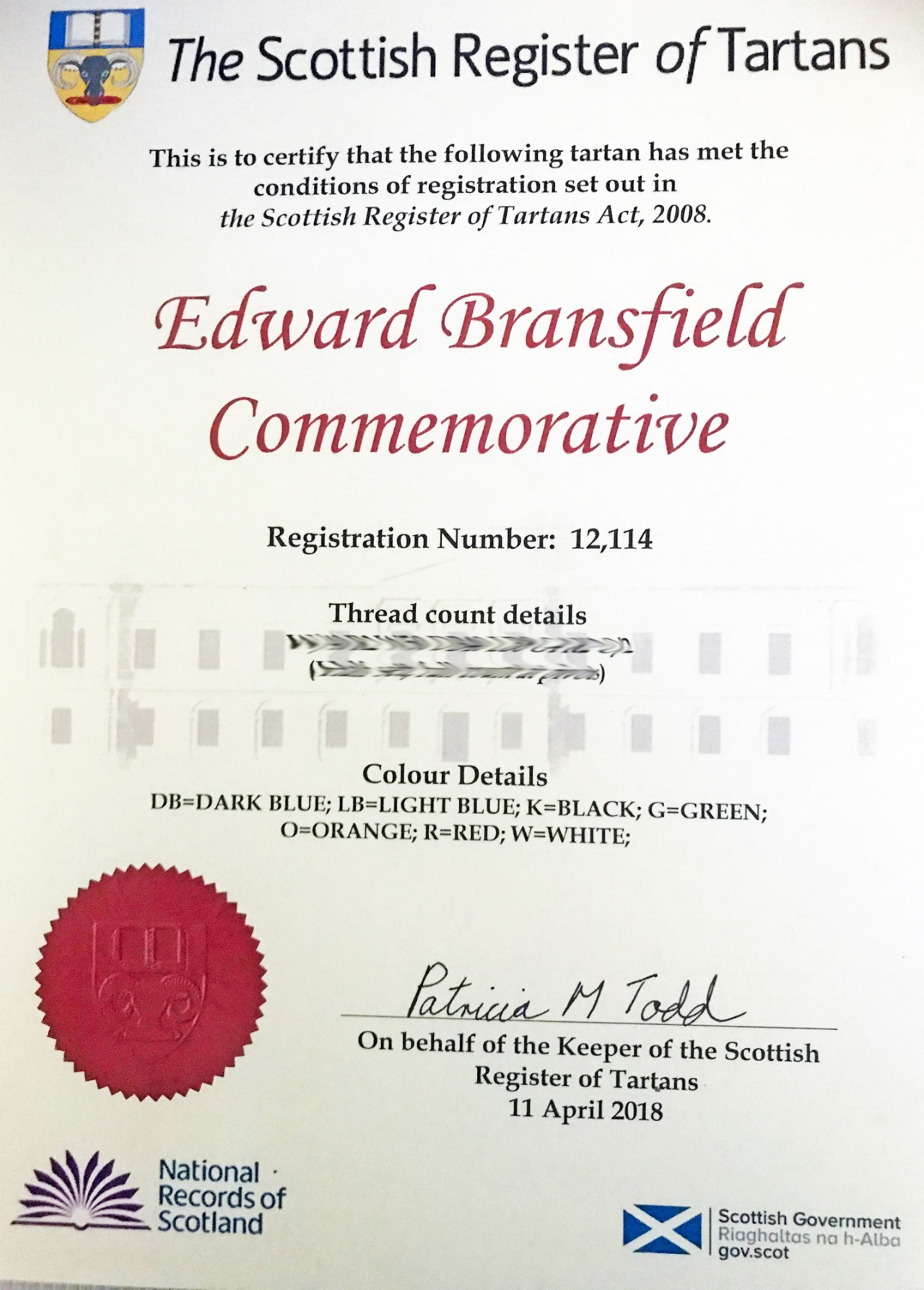 Bransfield-Commemorative-Tartan-Regristration-Cert-April-2018